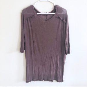 Free People Brown Open Side Tunic Tee Sz M